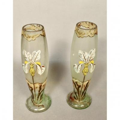 Pair Of Glass Vases With Iris Decor