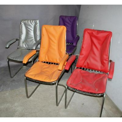 Series Of 4 1970s Armchairs With Chrome Feet And Colored Skai Seat
