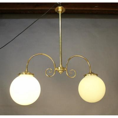 Brasserie Chandelier With Two White Opalines