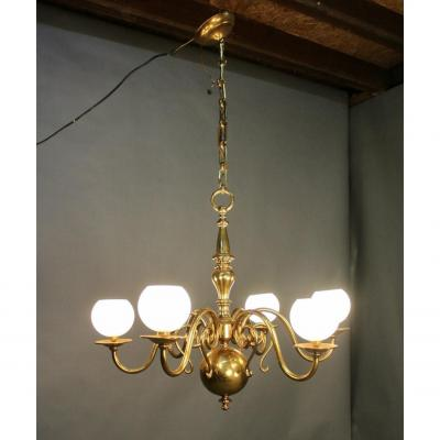 Pair Of Dutch Chandeliers With 6 Arms Of Light With Globes