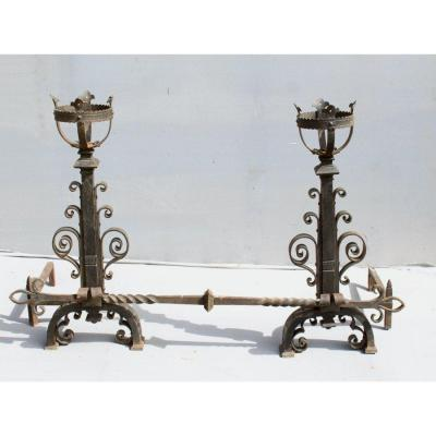 Important Pair Of Andirons In Wrought Iron Renaissance Style