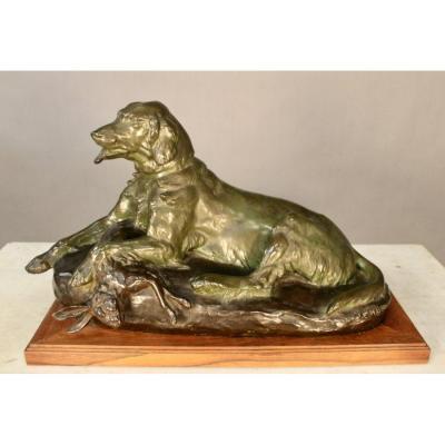 Bronze Epagneul Par Jules Edmond Masson (1871-1932)