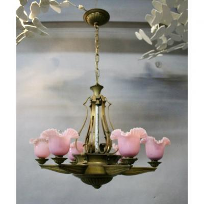 1940 Bronze Chandelier With 6 Pink Opaline Arms Of Light