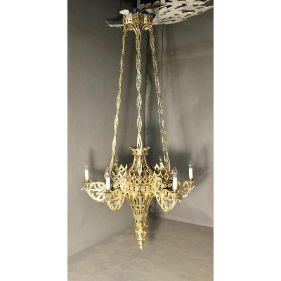 Lustre Gothique Flamboyant En Bronze XVIIème