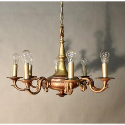 Lustre En Bronze Bi Tons à 8 Bras De Lumière