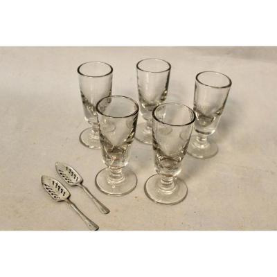 Lot Of 5 Old Absinthe Glasses And 2 Absinthe Spoons