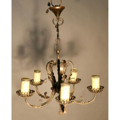 Wrought Iron Chandelier With 5 Lights 1925