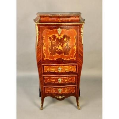 Louis XV Style Inlaid Inlaid Secretary