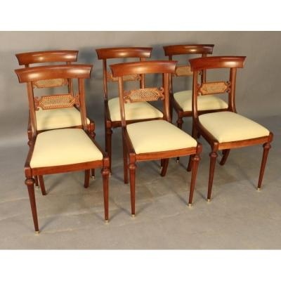 Suite Of 6 Pierrefeu Mahogany Chairs
