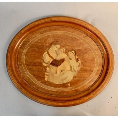 Oval Wood Inlaid Table
