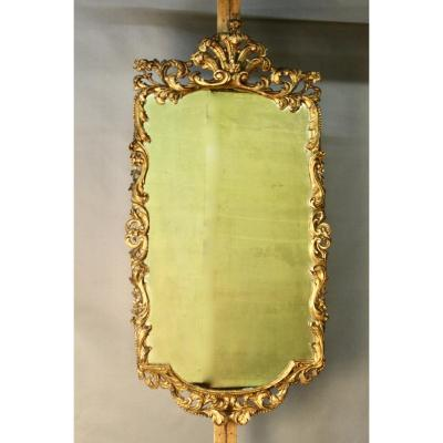 18th Century Provençal Mirror In Carved And Gilded Wood