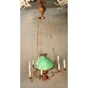Napoleon III Bronze And Green Opaline Chandelier Suspension