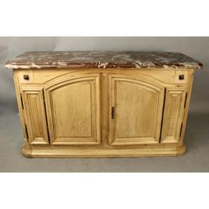 Louis XIV Hunting Buffet In Oak Top Marble From Languedoc