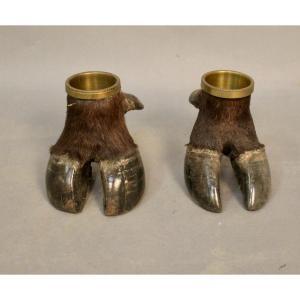 Pair Of Buffalo Feet Mounted In Empty Pocket
