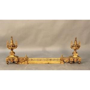 Pair Of Bronze Andirons With 19th Fireplace Bar