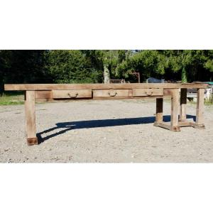 Large Beech Workbench With 3 Drawers