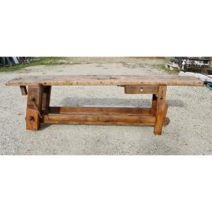 Workbench In Oak And Beech XVIIIth, 3 Meters