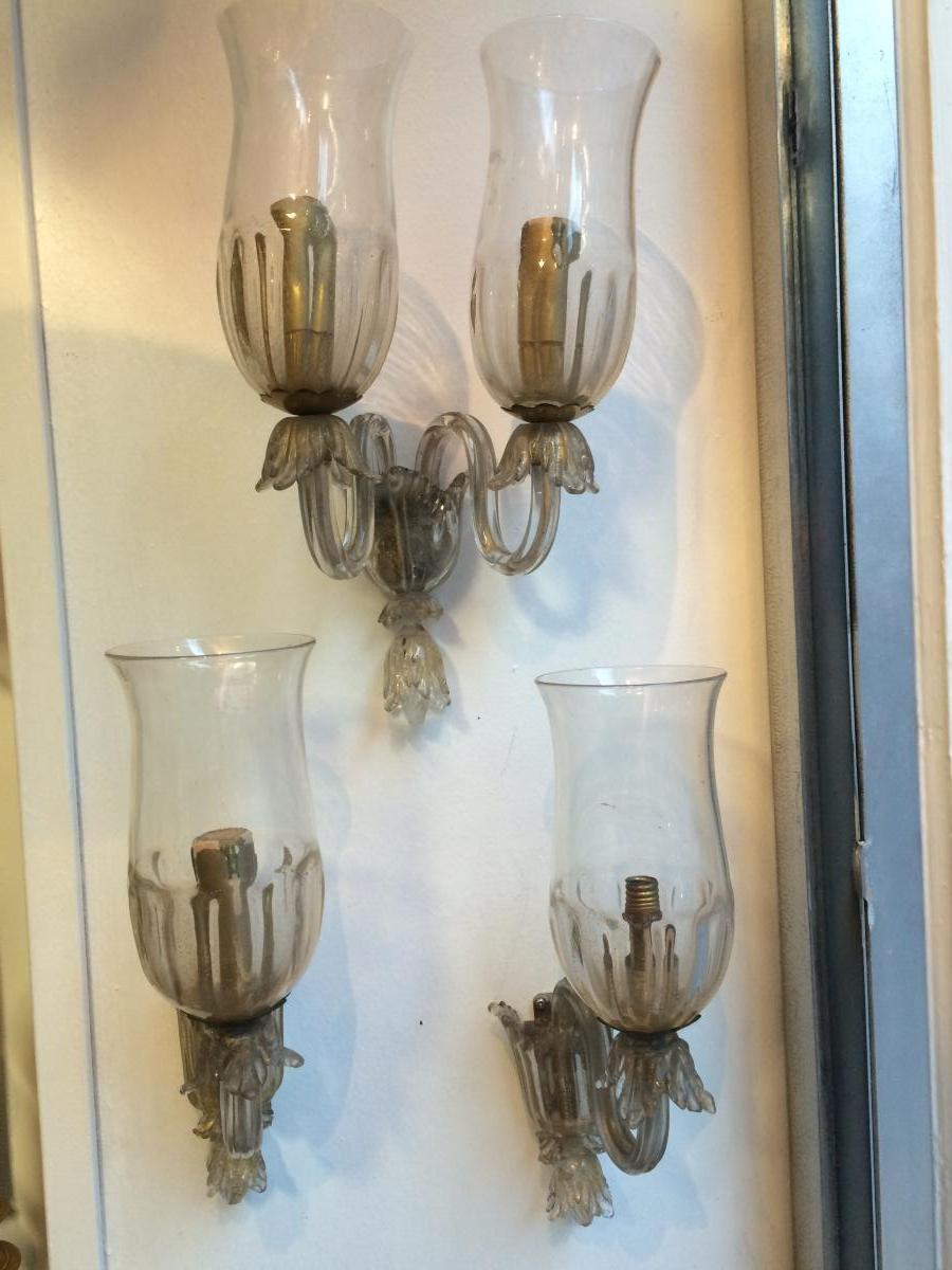 Pair Of Wall And Wall Sconces Double Murano Glass