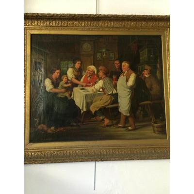 Grande Peinture Scène D Intérieur Hermann Gotz