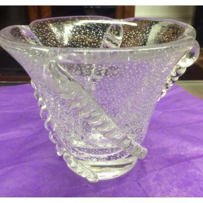 Daum Vase Cristal Bullé Art-deco