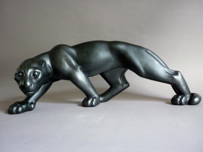 Riccardo Scarpa Sculpture Grande Panthere Noire En Marche Ceramique Art Deco 1930