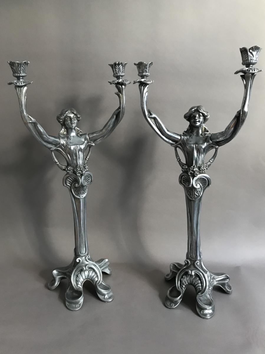 Pair Of Candlesticks Metal Pewter Art Nouveau 1900