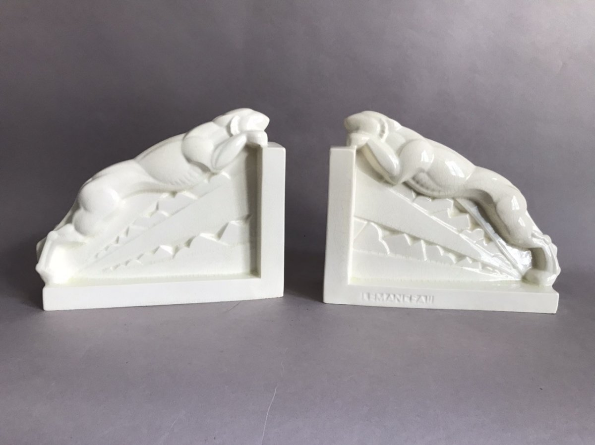 Lemanceau St Clément Pair Of Cracked Bookends In Art Deco Ceramic 1930