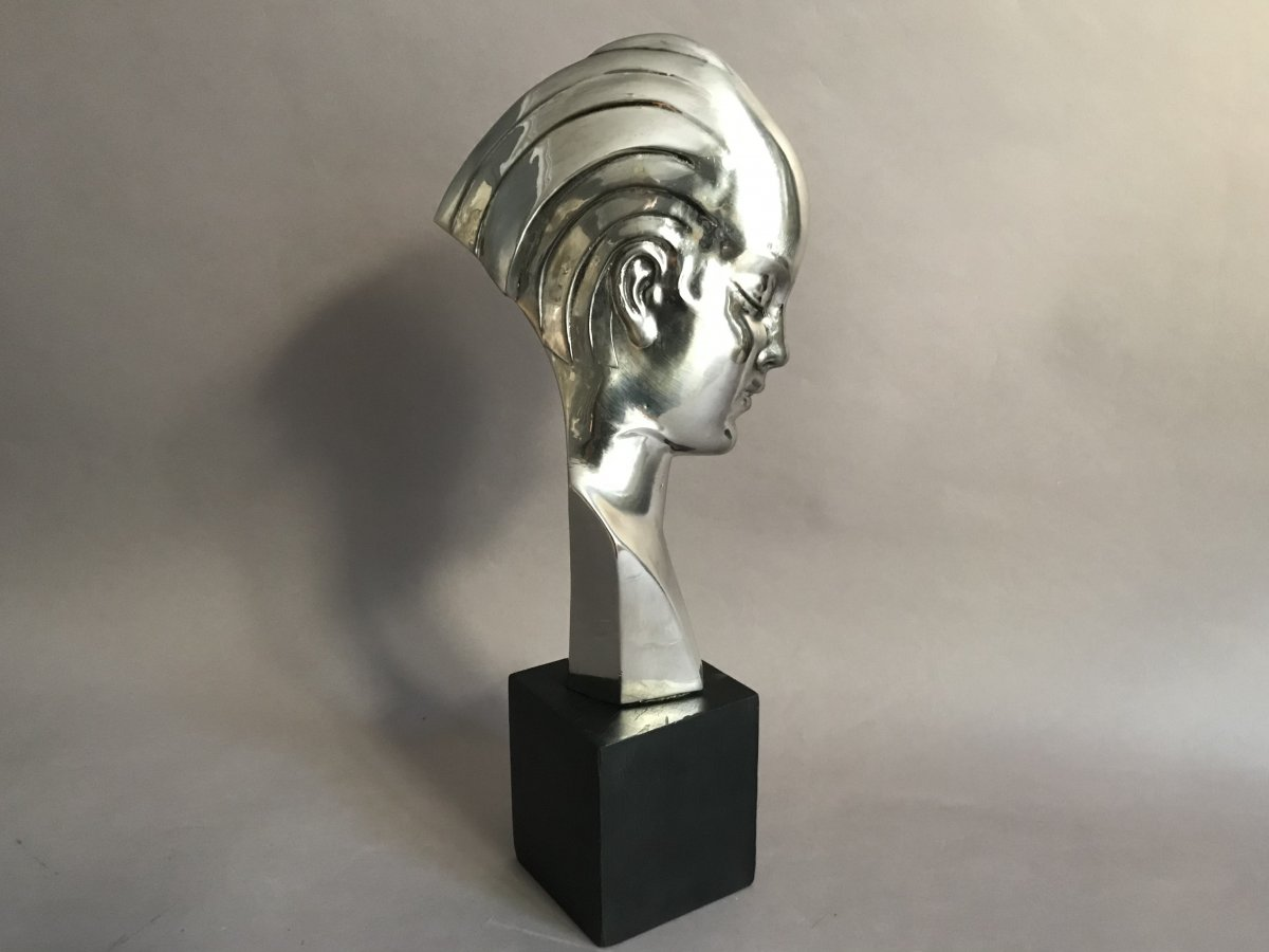 Guido Cacciapuoti Bust Of A Woman In Art Deco Nickel-plated Metal Circa 1930