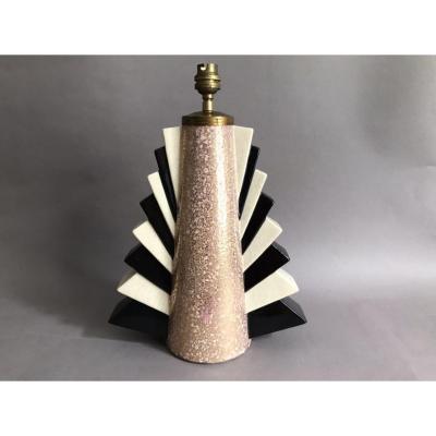 Ch France Charles Harva lampe céramique craquelée polychrome Art Déco 1930