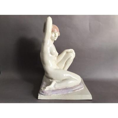 Claris Lévy éditions Kaza grand craquelé nu féminin polychrome Art Déco 1930