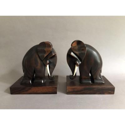 Dankarmer Paris paire de serre livres éléphants ébène de macassar Art Déco 1930
