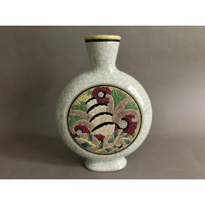 Longwy, Pomone vase craquelé en céramique polychrome Art Déco 1930
