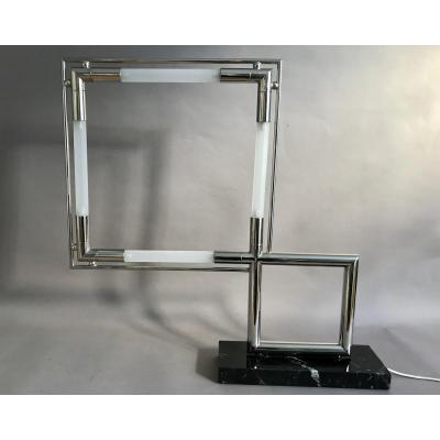 Jacques Adnet lampe Quadro en verre et laiton nickelé