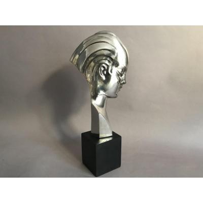 Guido Cacciapuoti buste de femme en métal nickelé Art Déco vers 1930