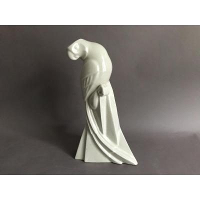 Lemanceau St Clément perroquet craquelé céramique Art Déco 1930