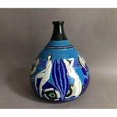 Primavera Longwy vase en céramique polychrome Art Deco 1922