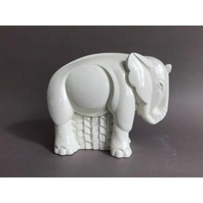 Lemanceau St Clément éléphant craquelé céramique Art Deco 1930