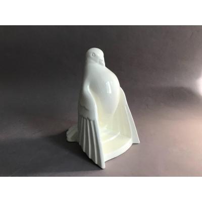 Charles Catteau pour Boch Frères Keramis craquelé, pigeon en céramique Art Déco 1930