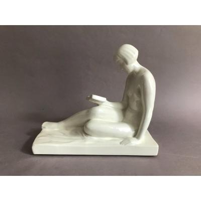 René Abel Philippe H.B.C.M. nu féminin, craquelé en céramique Art Déco 1930