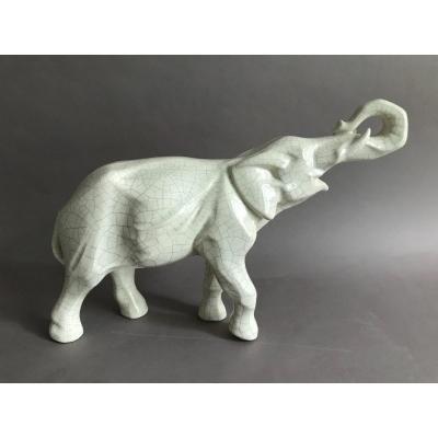 Robj éléphant en céramique craquelée Art Déco vers 1930