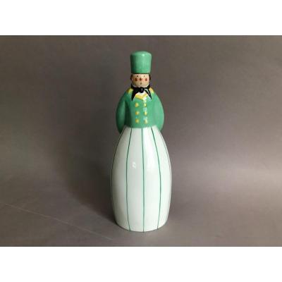 """Robj """"groom hollandais"""" flacon à liqueur en porcelaine Art Déco vers 1930"""