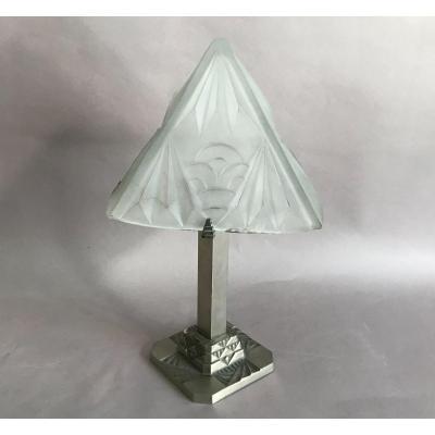 Degué lampe en verre moulé à la presse et bronze nickelé Art Deco 1930
