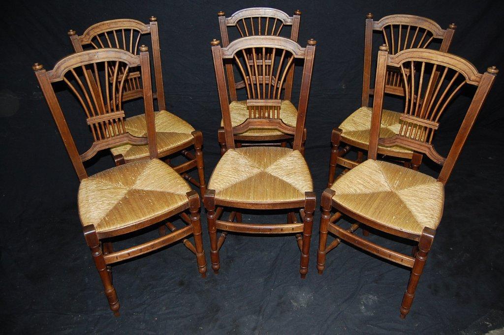 Séries de Chaises d'époque XIXème - Essences de Bois Diverses