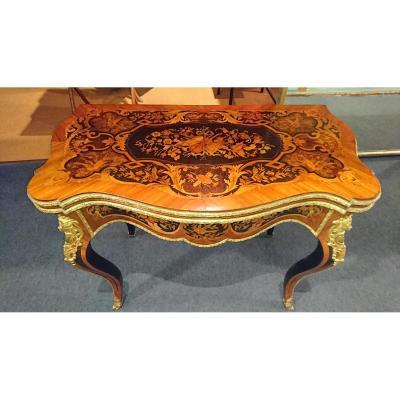 """Table à Jeux Marquetée """" Napoleon III """" XIXème. - Bronzes Dorés"""