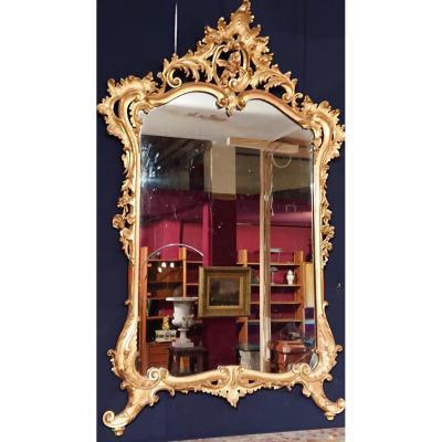 """Miroir  """" Napoléon III """" XIXème. Style Louis XV Rocaille - Bois Doré"""