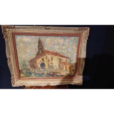 """Peinture sur toile 20ème """"Chapelle """" ( Pays Basque )"""