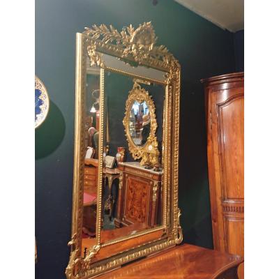 """Miroir à pareclose XIXème style """" LOUIS XV """" bois doré"""