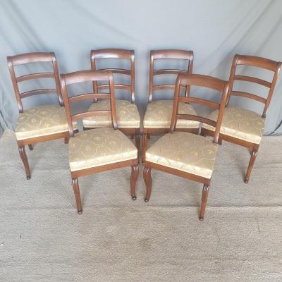 """série de six chaises  XIXème """" REGENCE """" Noyer massif"""