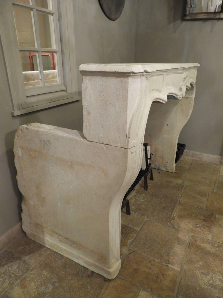 Hand-carved Louis XV Fireplace In French Limestone, 19th C-photo-3