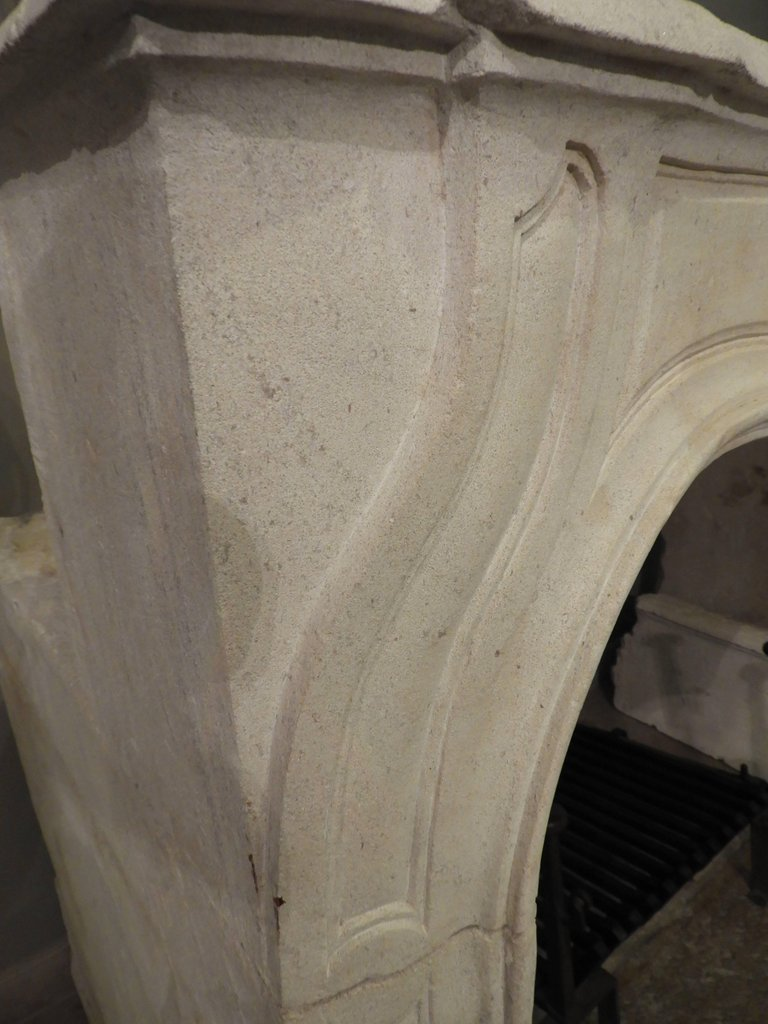 Hand-carved Louis XV Fireplace In French Limestone, 19th C-photo-4